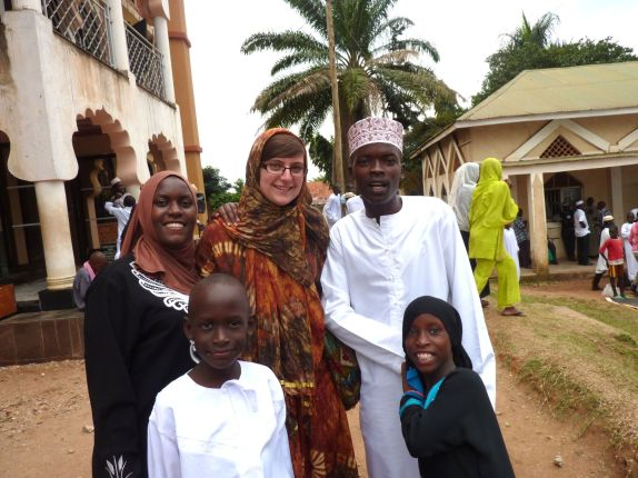 Outside the mosque with some of the family